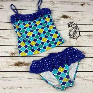 Garb Inc Tankini Swimsuit 7/8 Geometric Ruffle